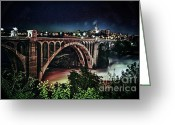 Spokane Greeting Cards - Monroe St. Bridge Greeting Card by Shirleen Mitchell