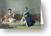 Sat Painting Greeting Cards - Monsieur Levett and Mademoiselle Helene Glavany in Turkish Costumes Greeting Card by Jean Etienne Liotard