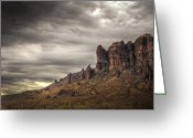 The Supes Greeting Cards - Monsoon in the Superstitions  Greeting Card by Saija  Lehtonen