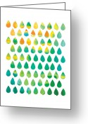 Colorful Digital Art Greeting Cards - Monsoon Rain Greeting Card by Budi Satria Kwan