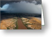 Rain Storms Greeting Cards - Monsoon Rains Over A Muddy River Greeting Card by Randy Olson