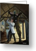 Frankenstein Greeting Cards - Monster In Victorian Science Laboratory Greeting Card by Martin Davey