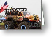 Four-wheel Greeting Cards - Monster Truck 7d15128 Greeting Card by Wingsdomain Art and Photography