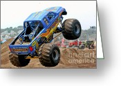 Wheels Greeting Cards - Monster Trucks - Big Things Go Boom Greeting Card by Christine Till
