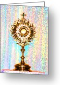 Sacred Body Greeting Cards - Monstrance Greeting Card by Anne Cameron Cutri