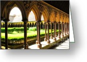 Architectural Greeting Cards - Mont Saint Michel Cloister Greeting Card by Elena Elisseeva