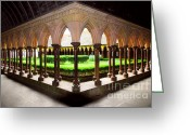 Gothic Arch Greeting Cards - Mont Saint Michel cloister garden Greeting Card by Elena Elisseeva