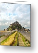 Ocean Path Greeting Cards - Mont Saint Michel Greeting Card by Elena Elisseeva