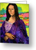 Recreation Mixed Media Greeting Cards - Montage Mona Lisa Greeting Card by Laura  Grisham
