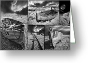 Pebbles Greeting Cards - Montage Of Wrecked Boats Greeting Card by Meirion Matthias