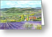 Mountain Vineyards Greeting Cards - Montagne de Lure in Provence France Greeting Card by Carol Wisniewski
