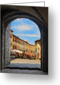 Portal Greeting Cards - Montalcino loggia Greeting Card by Inge Johnsson
