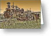 Farm Machine Greeting Cards - Montana Steam Punk - Nevada City Ghost Town Greeting Card by Daniel Hagerman