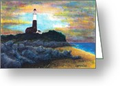Red Building Greeting Cards - Montauk Point Greeting Card by Teddy Campagna