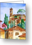 Medeival Greeting Cards - Montecatini Alta Greeting Card by Trudi Doyle