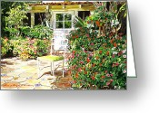 Impatiens Flowers Greeting Cards - Monterey Guest House Greeting Card by David Lloyd Glover
