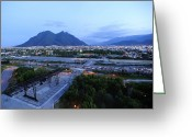 City Lights And Lighting Greeting Cards - Monterrey At Dusk With Cerro De La Greeting Card by Raul Touzon