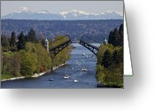 Nautical Vessel Greeting Cards - Montlake Bridge And Cascade Mountains Greeting Card by C. Chase Taylor