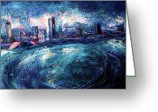 Riviere Greeting Cards - Montreal at Night Greeting Card by Ion vincent DAnu