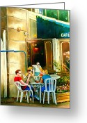 Spring Scenes Painting Greeting Cards - Montreal Cafe Paintings Rue St. Denis Greeting Card by Carole Spandau