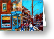 Hockey On The Streets Of Montreal Greeting Cards - Montreal City Scene Hockey At Wilenskys Greeting Card by Carole Spandau