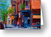 Store Fronts Greeting Cards - Montreal Depanneurs Greeting Card by Carole Spandau
