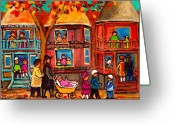 Montreal Street Life Greeting Cards - Montreal Early Autumn Greeting Card by Carole Spandau