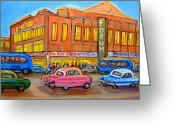 New York Rangers Painting Greeting Cards - Montreal Forum Vintage Scene Greeting Card by Carole Spandau