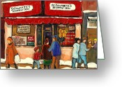 City Scapes Greeting Cards Greeting Cards - Montreal Hebrew Delicatessen Schwartzs By Montreal Streetscene Artist Carole Spandau Greeting Card by Carole Spandau