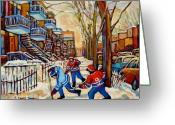 Montreal Hockey Art Greeting Cards - Montreal Hockey Game With 3 Boys Greeting Card by Carole Spandau