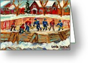Pond Hockey Painting Greeting Cards - Montreal Hockey Rinks Urban Scene Greeting Card by Carole Spandau