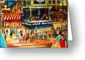 Schwartzs Hebrew Delicatessen Greeting Cards - Montreal Jazz Festival Greeting Card by Carole Spandau