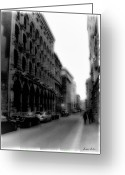 Mitic Greeting Cards - Montreal Street Black and White Greeting Card by Marko Mitic