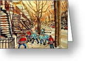 Montreal Street Life Greeting Cards - Montreal Street Hockey Paintings Greeting Card by Carole Spandau