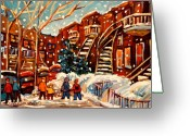 Life In The City Greeting Cards - Montreal Street In Winter Greeting Card by Carole Spandau