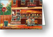 Life In The City Greeting Cards - Montreal Street Scene Paintings Greeting Card by Carole Spandau