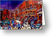 Hockey Street Scenes In Montreal Greeting Cards - Montreal Street Scene Paintings Hockey On De Bullion Street   Greeting Card by Carole Spandau