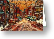 Winter Photos Painting Greeting Cards - Montreal Streets In Winter Greeting Card by Carole Spandau