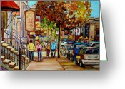Montreal Summer Scenes Greeting Cards - Montreal Streetscenes By Cityscene Artist Carole Spandau Over 500 Montreal Canvas Prints To Choose  Greeting Card by Carole Spandau