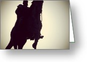 Sky Greeting Cards - Monument emperor and horse Greeting Card by Matthias Hauser