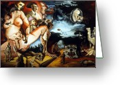 Surrealism Greeting Cards - Monument To The Unborn War Hero Greeting Card by Otto Rapp