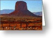 Blue Art Pastels Greeting Cards - Monument Valley 2 Pastel Greeting Card by Stefan Kuhn
