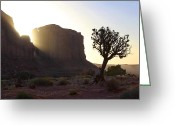 Rock Formation Greeting Cards - Monument Valley at Sunset Greeting Card by Mike McGlothlen