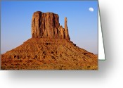 Monument Valley Photo Greeting Cards - Monument Valley At Sunset With Moon Greeting Card by Daniel Osterkamp