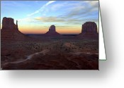 Lights Digital Art Greeting Cards - Monument Valley Just After Sunset Greeting Card by Mike McGlothlen