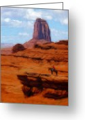 Cowboy Pastels Greeting Cards - Monument Valley Pastel Greeting Card by Stefan Kuhn