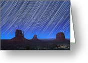 Natural Formations Greeting Cards - Monument Valley Star Trails 1 Greeting Card by Jane Rix
