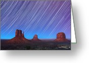 Startrail Greeting Cards - Monument Valley Star Trails  Greeting Card by Jane Rix