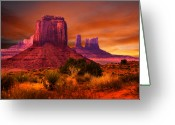 Monument Valley Photo Greeting Cards - Monument Valley Sunset Greeting Card by Harry Spitz