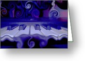 Linda-sannuti Art Greeting Cards - Moody Blues Greeting Card by Linda Sannuti